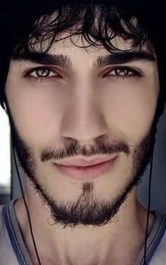 Portrait male model but only face - with smooth skin but detailed facial hair. :D Try this