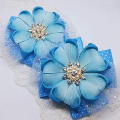 Фотография Cloth Flowers, Fabric Flowers, Boutique Hair Bows, Glitter Hair, Diy Hair Bows, How To Make Bows, Ribbon Bows, Baby Headbands, Diy Hairstyles