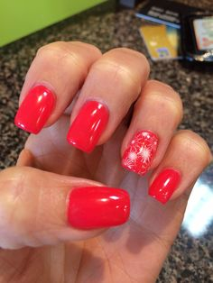 My Canada Day Nails! A little fireworks and red and white! Thanks Gels by JO!