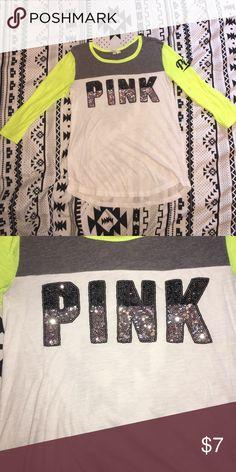 PINK sequin tee PINK sequin tee size small PINK Victoria's Secret Tops