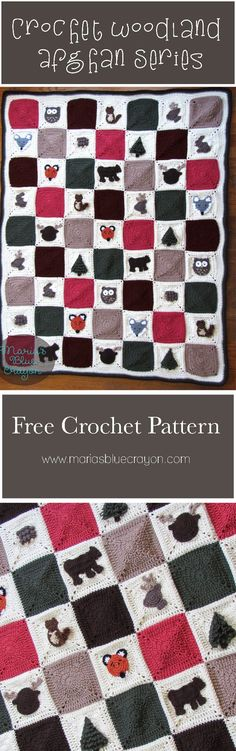 Woodland Afghan Series | Crochet Woodland Themed Blanket | Maria's Blue Crayon | Free Crochet Pattern