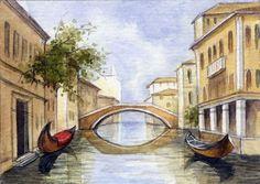 ACEO Original Miniature Watercolor Painting Venice by Elena Mezhibovsky #Miniature