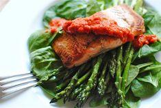 Seared Salmon with Red Pepper Pesto -- www.bevcooks.com