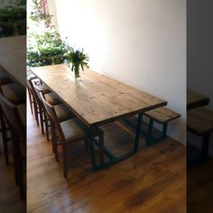This beautiful hand made reclaimed wood dining room table is a real talking…