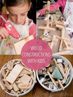 Woodworking Projects For Kids wood construction project for kids using scraps of wood and a glue gun - hours of creative fun! - We had so much fun making all kinds of creations and wood constructions with off cuts of wood. Kids Woodworking Projects, Wood Projects For Kids, Woodworking Crafts, Woodworking Plans, Woodworking Furniture, Woodworking Classes, Woodworking Store, Woodworking Patterns, Intarsia Woodworking