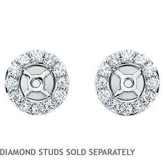 Round VS2 Clarity, I Color Diamond 14kt White Gold Earring Jackets (Fit 0.46 ctw - 0.60 ctw Round Studs)