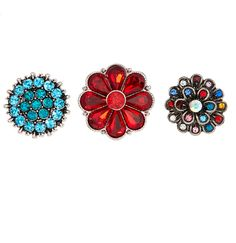 Teal & Red Crystal Floral Snap Charm Set