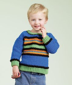 Crochet Kid's Striped Pullover Crochet Pattern | Red Heart
