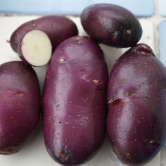 Potato 'Blue Danube' (previously known as 'Adam Blue') is the latest introduction from the Sárvári Trust, without the Sárpo prefix. Fruits And Vegetables, Veggies, Burpee Seeds, Exotic Fruit, Growing Plants, Permaculture, Vegetable Garden, Garden Tips, Garden Ideas