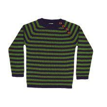 Navy-groen gestreepte sweater