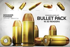 Free 3D Bullet Renders Pack  The DesignerCandies Bullet Pack is a heavyweight set of graphic design ammunition - use them responsibly.