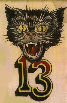 old-school-kool - Old School Halloween Imagem, Halloween Cat, Holidays Halloween, Vintage Halloween, Tattoo Gato, Halloween Friday The 13th, Friday The 13th Tattoo, Black Cat Tattoos, Tatuagem Old School