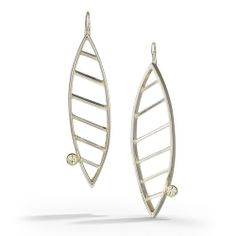 Striated Earring W/ Moissanites by Danielle Miller Jewelry
