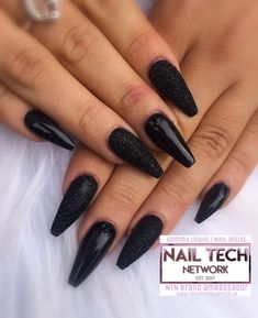 Black Magic  - acrylic nails via Nailstyle Red Black Nails, Acrylic Nails Stiletto, Black Coffin Nails, Black Nail Art, Goth Nails, Witchy Nails, Prom Nails, Black Nail Designs, Fancy Nails Designs