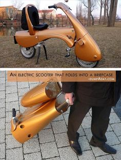 Electric Scooter Folds Into Suitcase No parking spaces? Don't worry, this electric scooter folds into a briefcase.No parking spaces? Don't worry, this electric scooter folds into a briefcase. Cool Technology, Technology Gadgets, Tech Gadgets, Green Technology, Futuristic Technology, Energy Technology, Medical Technology, Electric Scooter, Electric Cars