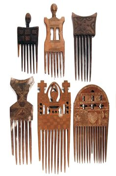 Africa | Collection of Ashanti combs from Ghana and the Ivory Coast | Wood | 20th century