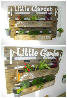"This wall planter is made with a recycled pallet, the brackets are made with recovered iron and the PVC letters were cut with a jigsaw. [symple_box color=""gray"" fade_in=""false"" float=""left"" text_align=""left"" width=""100%""] Via 1001Pallets [/symple_box]"