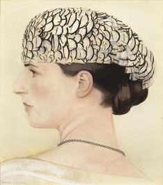 PROFIL DE DELFINA BOUTET DE MONVEL COIFFÉE D'UNE TOQUE DE JEANNE LANVIN by Bernard Boutet de Monvel (French 1881-1949)  ; (PROFILE PORTRAIT OF DELFINA BOUTET DE MONVEL, WEARING A FEATHER HAT BY JEANNE LANVIN) ; OIL ON CANVAS ;