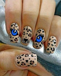 67 New Ideas For Fails Design 2019 Valentines Cat Nail Art, Animal Nail Art, Cat Nails, Beautiful Nail Art, Gorgeous Nails, Pretty Nails, Leopard Print Nails, Fancy Nails, Beauty Nails