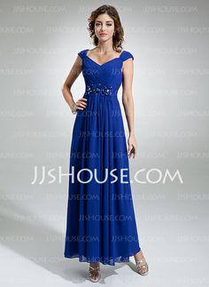 Evening Dresses - $138.99 - A-Line/Princess V-neck Ankle-Length Chiffon Evening Dress With Ruffle Beading Flower(s) (017020710) http://jjshouse.com/A-Line-Princess-V-Neck-Ankle-Length-Chiffon-Evening-Dress-With-Ruffle-Beading-Flower-S-017020710-g20710