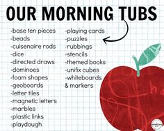 """Build play and exploration into your day with Morning Tubs! I love this paperless morning """"work"""" alternative is a perfect way to build social skills and get students excited about the day! First Grade Classroom, First Grade Math, Kindergarten Classroom, Future Classroom, Classroom Activities, Classroom Organization, Grade 1, Classroom Management, Classroom Ideas"""