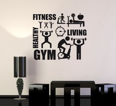 Vinyl Decal Fitness Healthy Lifestyle Sport Motivation Decor Wall Sticker Unique Gift - New Fetch Office Ideas - Sport Wall Stickers Unique, Vinyl Wall Decals, Sport Motivation, Gym Decor, Wall Decor, Gym Interior, Lifestyle Sports, Sports Wall, Gym Room