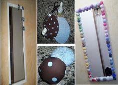 Reformando um espelho! a moldura ganha cor e criatividade om fuxico feito de tecidos estampados, e só colar conforme desejar !