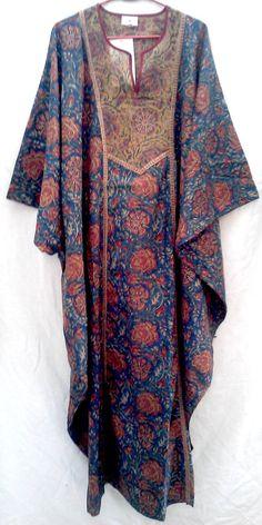 Rare Wonderful Boho Chic Anokhi Tunic style Indian Floral Hand block Print Long Cotton Maxi Dress Kaftan One Size