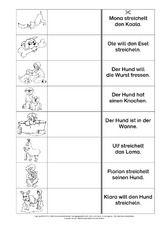 Lesen-Zuordnen-Schreiben - Grundschulmaterial-Fibel - Deutsch Klasse 1 - Grundschulmaterial.de Learn German, Learning, Words, School, Pdf, Group Work, First Grade, Studying, Teaching