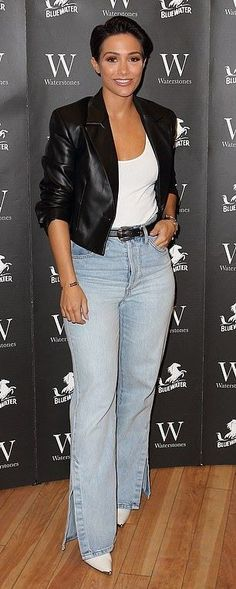 The author dressed for the occasion in a stylish black leather jacket teamed with a white tank top and accentuated her height in a pair of high-waited straight cut denim jeans. Jeans Outfit Winter, Winter Outfits, White Leather Boots, Black Leather, Leather Jacket, Frankie Sandford, Blue V, Blue Denim Jeans, White Tank