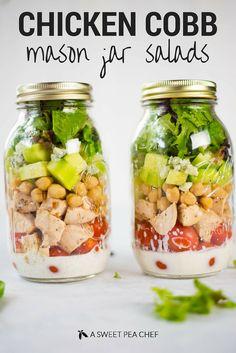 Mason Jars, Mason Jar Meals, Meals In A Jar, Mason Jar Recipes, Mason Jar Lunch, Clean Ranch Dressing, Ranch Salad Dressing, Dressing Recipe, Cobb