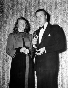 The winner from 1944 (Ingrid Bergman, Gaslight) with the winner from 1945 (Ray Milland, The Lost Weekend)