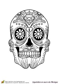 Coloriage d'un crâne en sucre décoré d'un diamant sur le front.