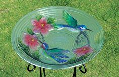 Hummingbird Pair Bird Bath Glass