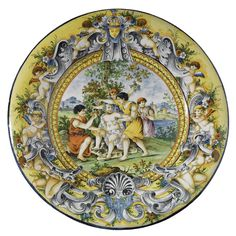 A set of six large Italian maiolica decorative chargers with mythological subjects<br>in Renaissancestyle, 19th century | lot | Sotheby's