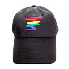 Black Baseball Cap with Gay Rainbow Squiggle - LGBT Gay and Lesbian Pride  Hat Black Baseball 05c8cbc64bbf