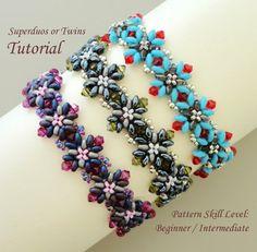Bracelet beading pattern beadweaving tutorial beaded superduo or twin seed bead jewelry beadwork instructions - beadwoven CAPRI