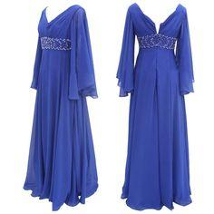 Graceful V-Neck Royal Blue Floor Length Long Sleeves Mother of the Bride Dresses