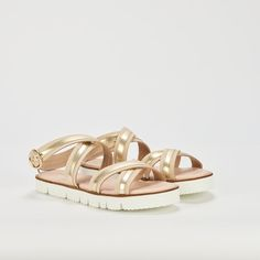 Ref: Fara 01 - Beige Oro Beige, Shoes, Fashion, Shoes Sandals, Slippers, Latest Trends, Totes, Accessories, Moda
