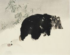 takeuchi seiho | Takeuchi Seiho, Bear in Snow, 1940. Woodblock print; ink and color on ...
