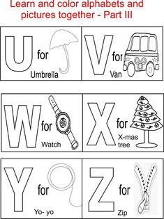 Alphabet Part III coloring printable page for kids: Alphabets coloring printable pages for kids
