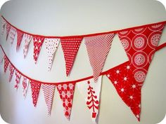 red white Christmas bunting