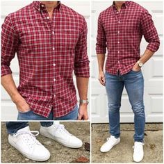 Casual Christmas Outfit 🔴👖👟🙌🏼 If you like to keep it casual on Christmas 🎄, just go with your favorite red 🔴 plaid flannel shirt, your… Holiday Outfits Christmas Casual, Trajes Business Casual, Trendy Business Casual Men, Mode Man, Style Masculin, Elegantes Outfit, Herren Outfit, Men Style Tips, Style Men