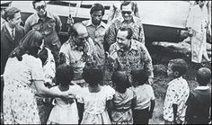 Dharmais Foundation greet children before sending them to SOS-Kinderdorf in Bandung.Children sent to Indonesia by Suharto in 1976