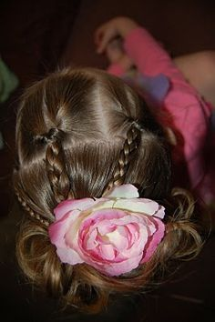 This turned out really cute! I just started with 3 flip under ponies in the front and braided the hair on each. I attached the 3 braids to. Dance Hairstyles, Braided Hairstyles For Wedding, Little Girl Hairstyles, Messy Hairstyles, Hairdos, Teenage Hairstyles For School, School Hairstyles, Girl Hair Dos, Bridesmaid Hair Half Up