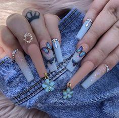 Blue Coffin Nails, Blue Acrylic Nails, Acrylic Nails Coffin Short, Summer Acrylic Nails, Summer Nails, Spring Nails, Dark Blue Nails, Classy Acrylic Nails, Winter Nails