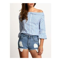 SheIn(sheinside) Blue Boat Neck Bell Sleeve Vertical Stripe Blouse ($19) ❤ liked on Polyvore featuring tops, blouses, blue, blue top, boatneck blouse, elbow length sleeve tops, bell sleeve tops and vertical stripe blouse
