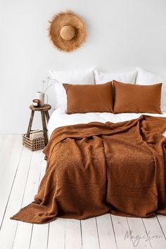 Waffle linen blanket in Cinnamon. Linen bed throw in King, Queen sizes. - Cinnamon linen blanket in a puffy waffle pattern. This soft, natural linen- cotton blend blanket ca - Bedroom Inspo, Home Bedroom, Bedroom Decor, Bedrooms, Bedroom Beach, Bedroom Inspiration, Bedroom Sets, Design Inspiration, Waffle Blanket