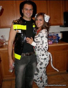 25 DIY Costumes for a Family Themed Halloween  sc 1 st  Pinterest & Best Costume at the Party: Firefighter and Dalmatian Couples Costume ...