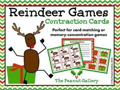FREE! Help each reindeer find his/her Christmas gift by matching these contraction cards together. These cards would work well as a card matching activity with students working individually, with partners, or in small groups. They are also perfect to use for a memory or concentration game!